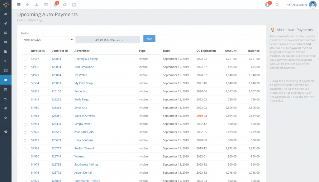 Ad Sales Genius screenshot showing auto payment management