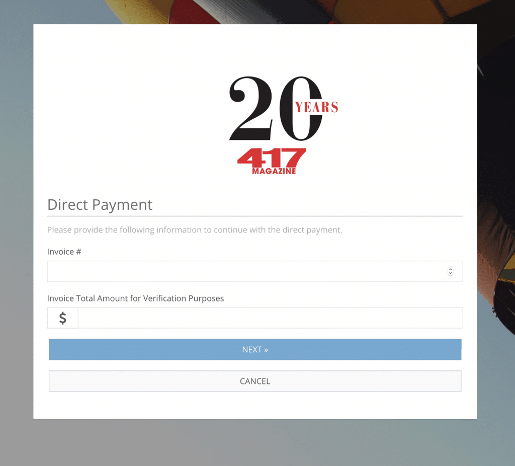 Ad Sales Genius screenshot showing direct electronic payment for publisher