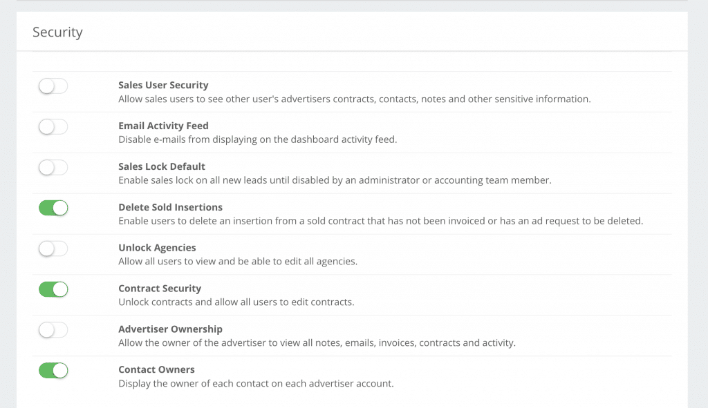 Ad Sales Genius screenshot showing user permissions settings