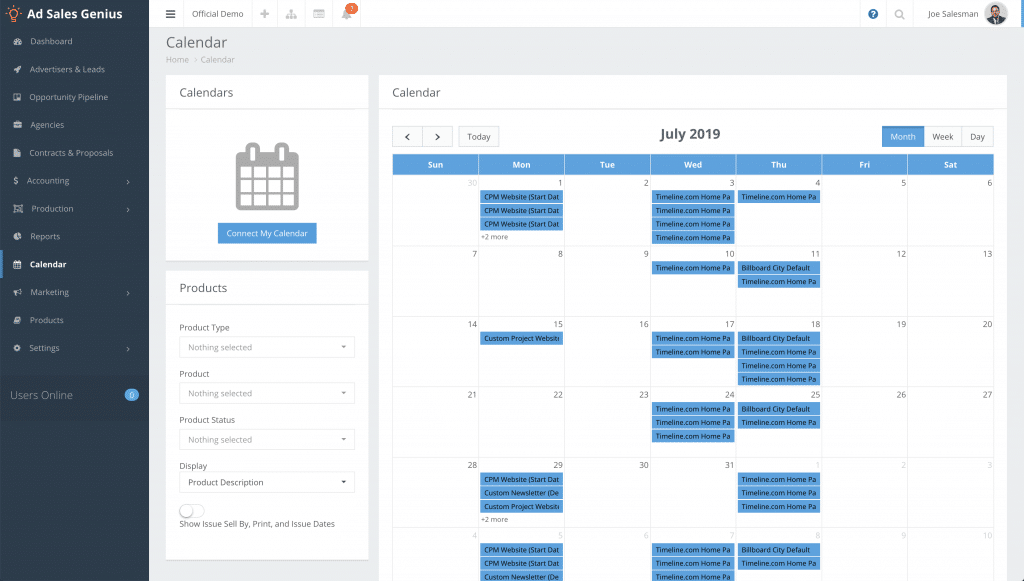 Screenshot of Ad Sales Genius calendar integration